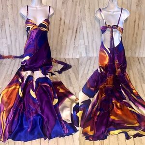 Cache Silk Mermaid Bottom Evening Maxi Dress